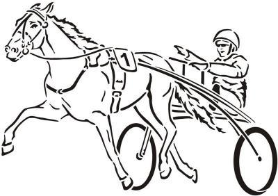 D847 cheval attelage pochoir course chevaux