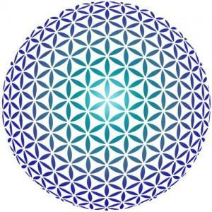 D9784 grande rosace sphere pochoir bleu