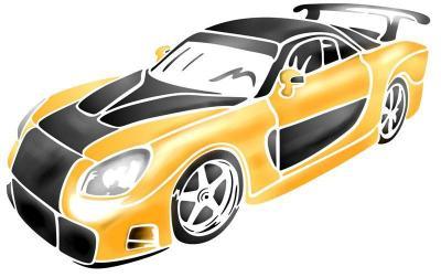 Div009165 voiture jaune tuning pochoir