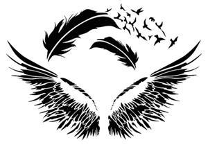 Div112292 plumes et ailes en pochoir plastique style pochoir