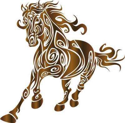 Div16006 pochoir cheval design au galop
