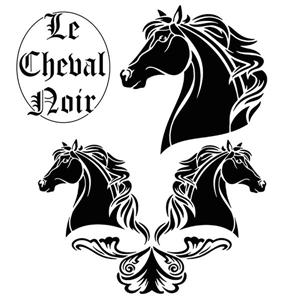 Div3325 cheval noir chevaux noirs style pochoir