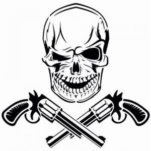 Div70221 tete de mort revolver crane en pochoir mon artisane style pochoir
