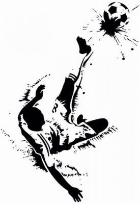 Div70477 joueur de foot 2 en pochoir avec ballon de foot