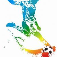 Div70478 pochoir joueur de foot 3 avec ballon
