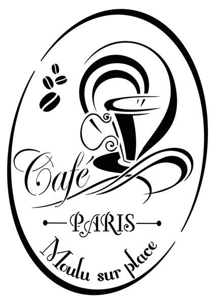 Div94098 cafe de paris pochoir vintage