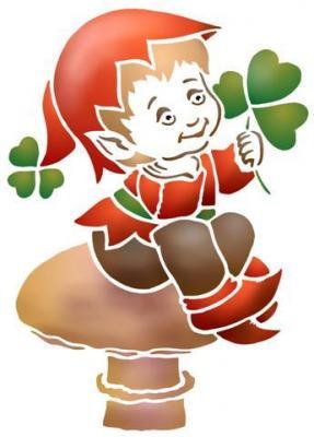 Enfa078 elfe feuille champignon pochoir