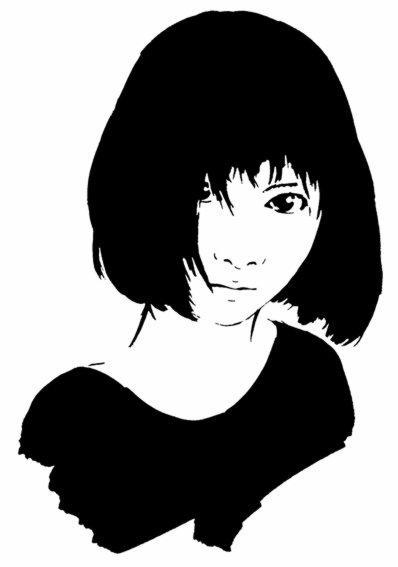 Fem821 fille asiatique visage chinoise pochoir