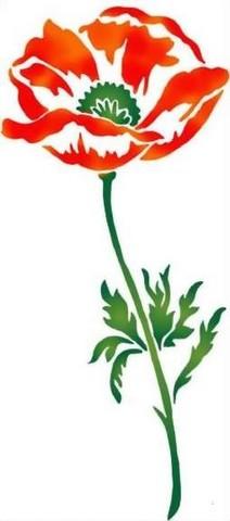 Fl009 pochoir fleur coquelicot 1 tige style pochoir 1