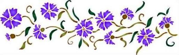Fl026 pochoir fleur frise de bleuets style pochoir 1