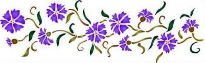 Fl026 pochoir fleur frise de bleuets style pochoir