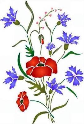 Fl027 pochoir bouquet champetre style pochoir