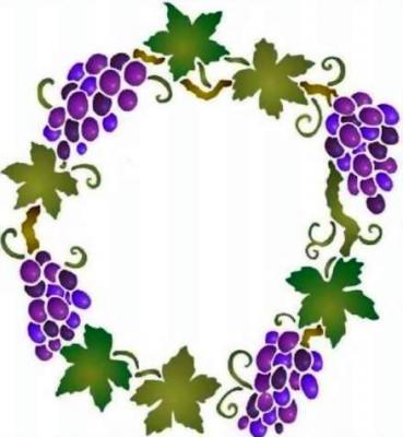 Fl048 pochoir cercle de raisin style pochoir