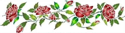 Fl064 pochoir frise de roses style pochoir