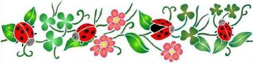 Fl081 pochoir frise de coccinelles et fleurs style pochoir 2
