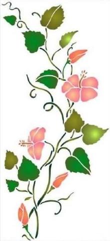 Fl116 pochoir frise d hibiscus style pochoir 1