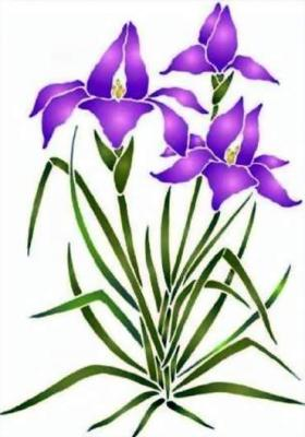 Fl128 pochoir iris plante style pochoir