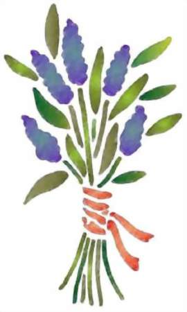 Fl137 pochoir fleur bouquet de lavande 2 style pochoir 1