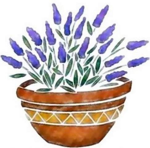 Fl138 pochoir fleur lavande en pot style pochoir 1