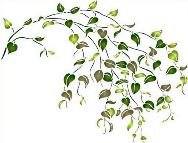 Fl153 pochoir fleur arcade de feuilles style pochoir 1