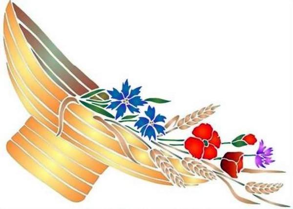 Fl154 pochoir fleur chapeau fleuri style pochoir 1