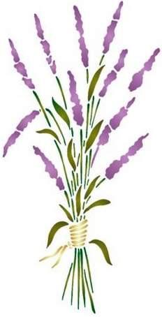 Fl157 pochoir fleur joli petit bouquet de lavande style pochoir