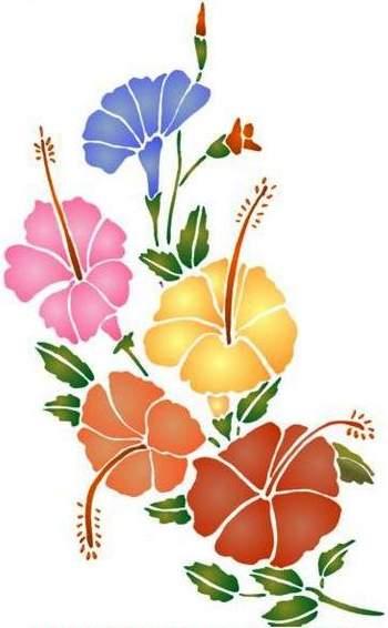 Fl160 pochoir fleur bouquet d hibiscus style pochoir 1