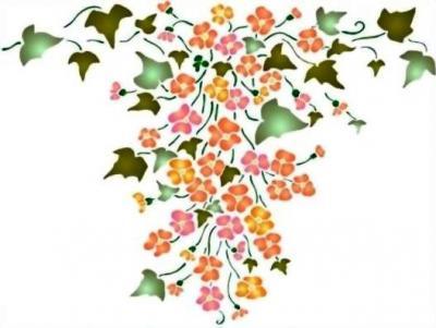 Fl161 pochoir fleurs retombee de lierre et fleurs style pochoir