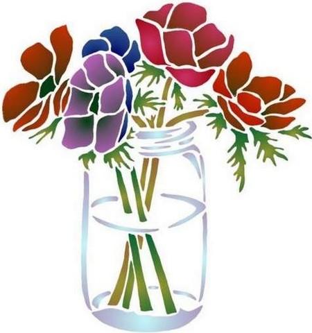 Fl167 pochoir fleur bouquet d anemones vase verre 1