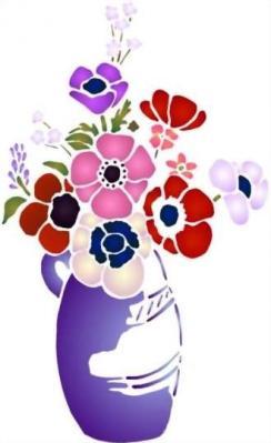 Fl168 pochoir bouquet d anemones vase bleu style pochoir