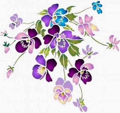 Fl169 pochoir fleur bouquet de pensees court