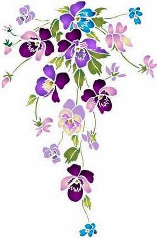 Fl170 pochoir fleur bouquet de pensees long 1