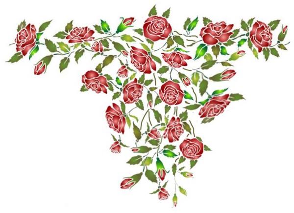 Fl177 pochoir retombee de roses style pochoir 1