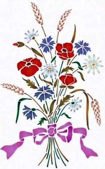 Fl180 pochoir bouquet alsacien style pochoir 2