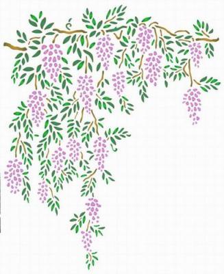 Fl182 pochoir fleur glycine tombante style pochoir