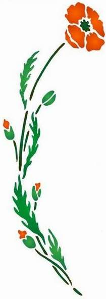 Fl191 pochoir fleur coquelicot courbe droit style pochoir 1