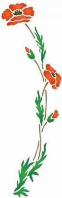 Fl192 pochoir fleur coquelicot courbe gauche