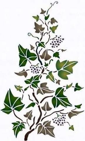 Fl195 pochoir fleur lierre grimpant style pochoir 1