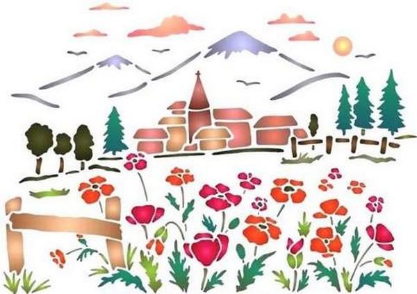 Fl197 pochoir fleur paysage de montagne style pochoir 1