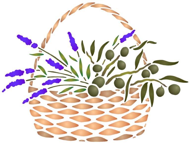 Fl198 pochoir panier d olives style pochoir 1