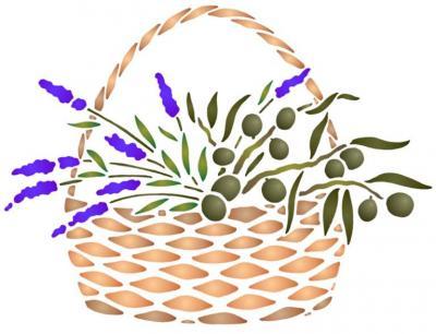 Fl198 pochoir panier d olives style pochoir