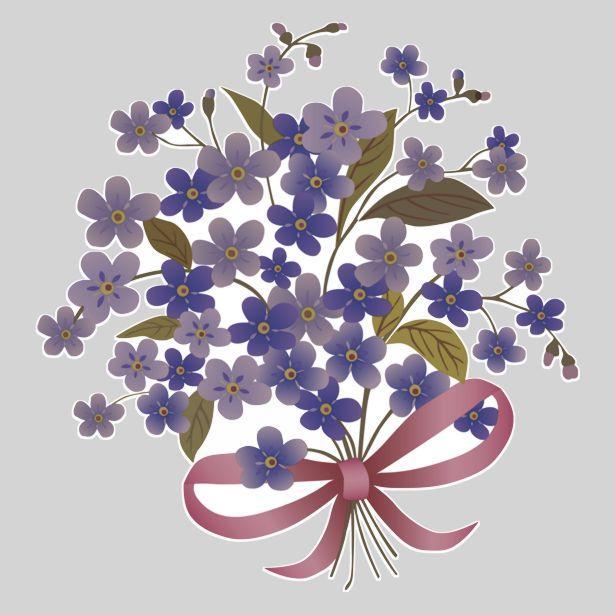 Fl50098 sticker bouquet fleurs bleues violettes autocollant decoupe