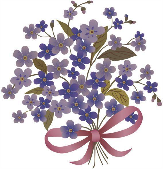 Fl50098 sticker bouquet fleurs bleues violettes autocollant