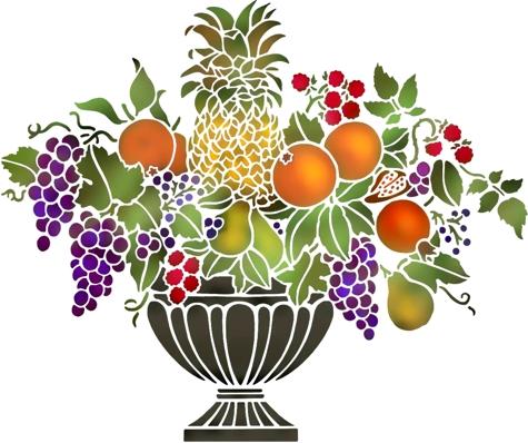 Fl856 pochoir coupe de fruits style pochoir