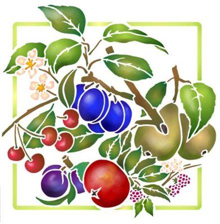 Fl857 pochoir carre de fruits style pochoir 1