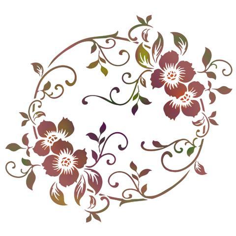 Fl88256 fleurs baroques style pochoir