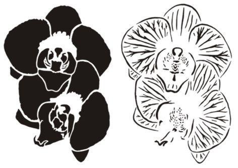 Fle87 pochoir 2 orchidees en deux parties pochoir 3d