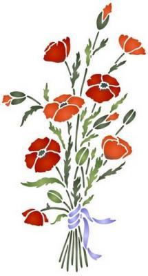 Flsp2107 pochoir bouquet de coquelicots style pochoir
