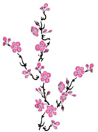 Flsp2110 pochoir branche fleurs de pommier style pochoir 1