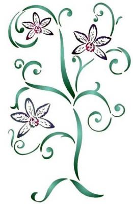 Flsp2113 pochoir orchidee design style pochoir
